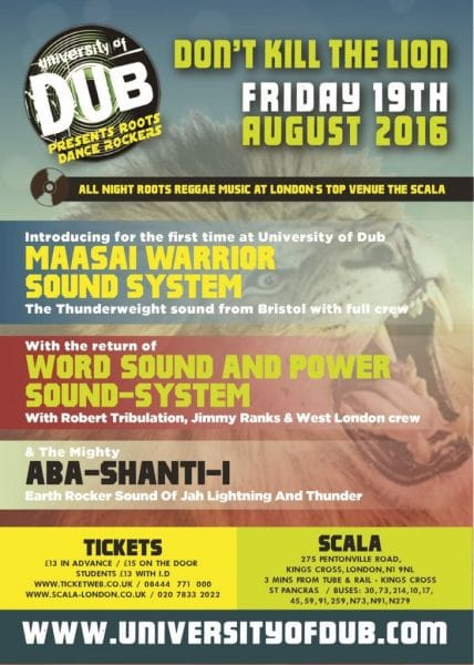 [Event] University of Dub presents Roots Dance Rockers – Don't Kill The Lion // 19.08.2016 // London