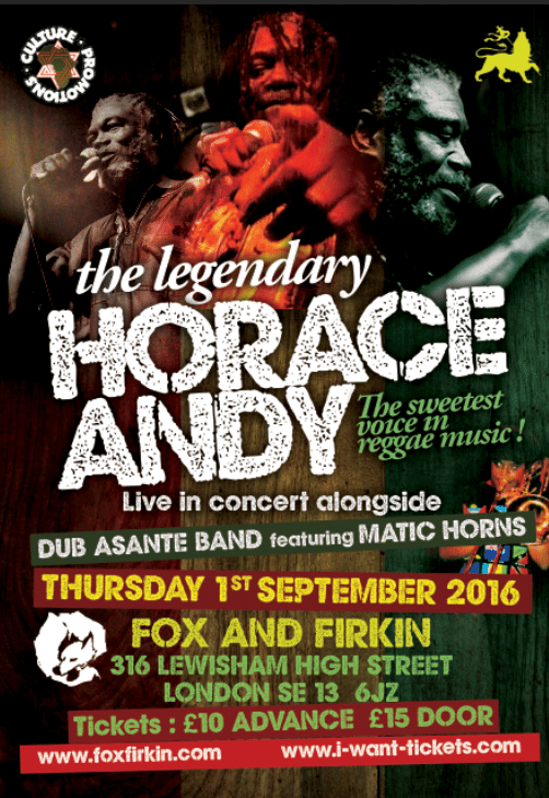 [Event] Horace Andy live with Dub Asante Band & Matic Horns // 01.09.2016 // London