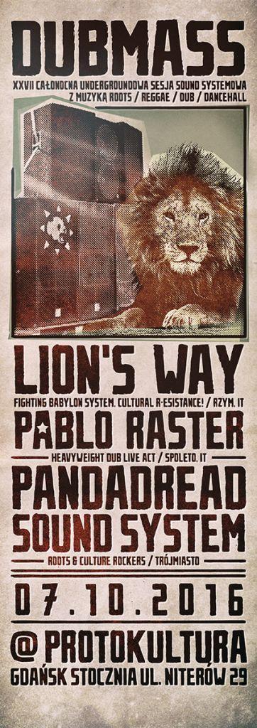 [Impreza] Dub Masx XXVII – Lion's Way, Pablo Raster, Pandadread Sound System // 07.10.2016 // Gdańsk